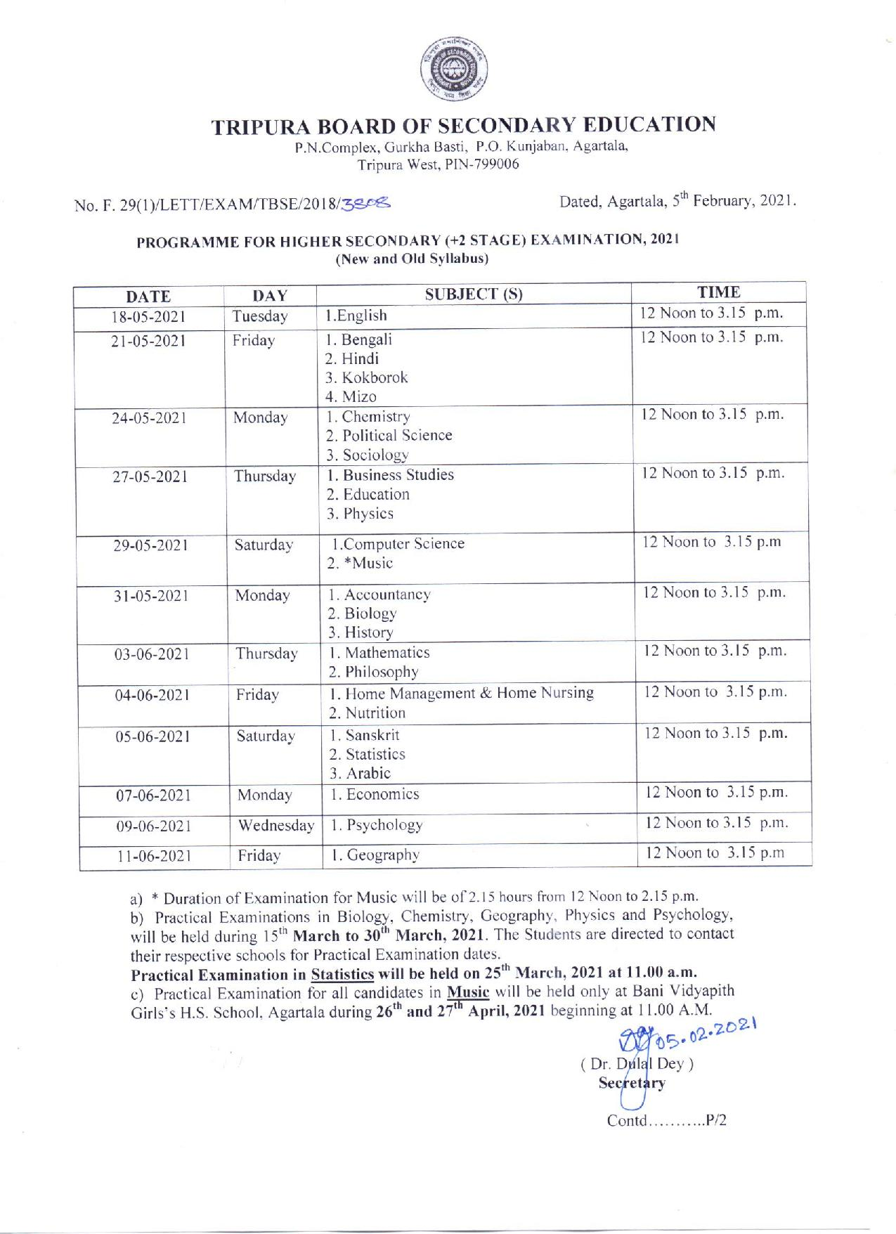 Tripura Board HS +2 Time Table 2021 Download